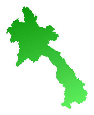 shading: Green gradient Laos map. Detailed, Mercator projection. Stock Photo