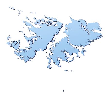 shading: Falkland Islands map filled with light blue gradient. High resolution. Mercator projection.