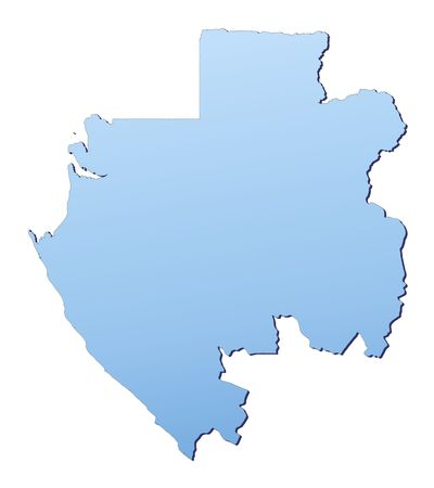 shading: Gabon map filled with light blue gradient. High resolution. Mercator projection.