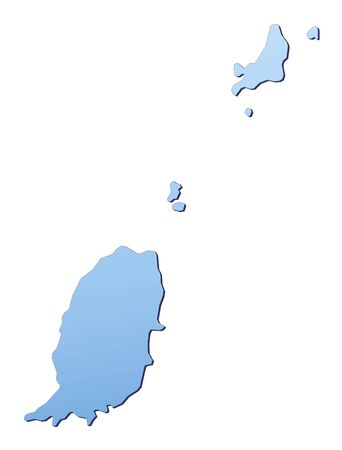 shading: Grenada map filled with light blue gradient. High resolution. Mercator projection.
