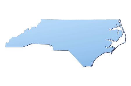 3d bitmap: North Carolina(USA) map filled with light blue gradient. High resolution. Mercator projection.