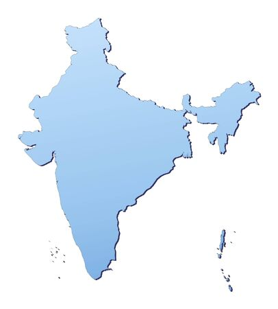 resolution: India map filled with light blue gradient. High resolution. Mercator projection.