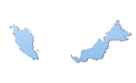 shading: Malaysia map filled with light blue gradient. High resolution. Mercator projection.