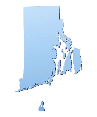 3d bitmap: Rhode Island(USA) map filled with light blue gradient. High resolution. Mercator projection. Stock Photo