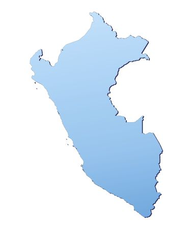 shading: Peru map filled with light blue gradient. High resolution. Mercator projection.