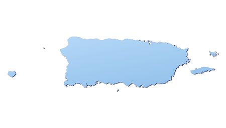 Puerto Rico map filled with light blue gradient. High resolution. Mercator projection. photo