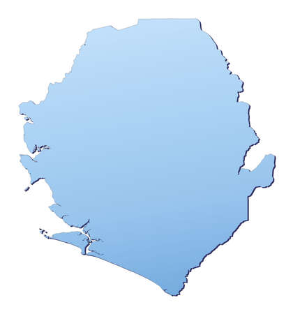 shading: Sierra Leone map filled with light blue gradient. High resolution. Mercator projection. Stock Photo