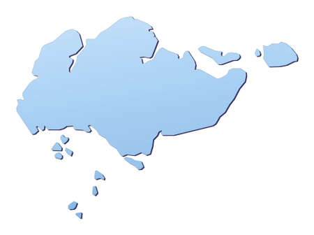 mercator: Singapore map filled with light blue gradient. High resolution. Mercator projection. Stock Photo