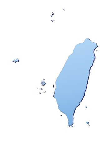 3d bitmap: Taiwan map filled with light blue gradient. High resolution. Mercator projection. Stock Photo