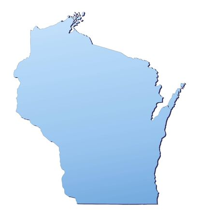 3d bitmap: Wisconsin(USA) map filled with light blue gradient. High resolution. Mercator projection.