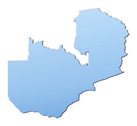 shading: Zambia map filled with light blue gradient. High resolution. Mercator projection.