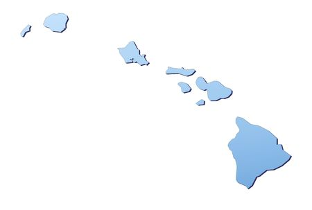 Hawai map filled with light blue gradient. High resolution. Mercator projection.