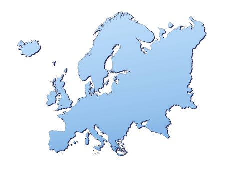 3d bitmap: Europe map filled with light blue gradient. High resolution. Mercator projection.