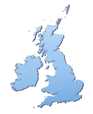 Great Britain map filled with light blue gradient. High resolution. Mercator projection. Stock Photo