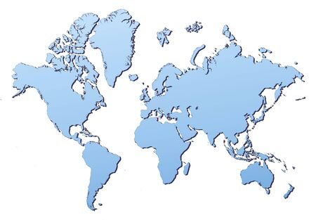 filled: World map filled with light blue gradient. High resolution. Mercator projection.