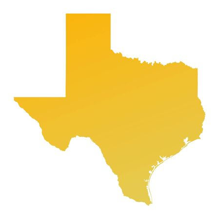 Orange gradient Texas map, USA. Detailed, Mercator projection.