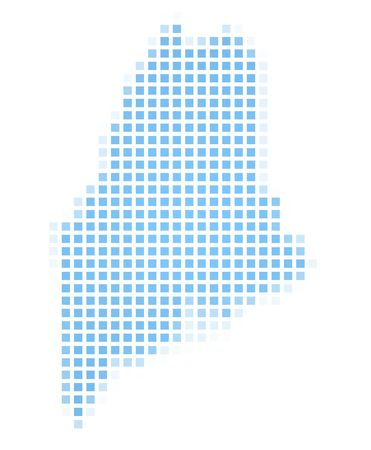 recolor: Maine(USA) map square mosaic. Easy to recolor. Stock Photo