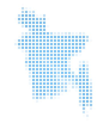 recolor: Bangladesh map square mosaic. Easy to recolor. Stock Photo