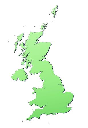 United Kingdom map filled with light green gradient. High resolution. Mercator projection. photo