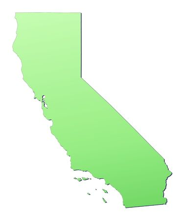 California (USA) map filled with light green gradient. High resolution. Mercator projection. photo