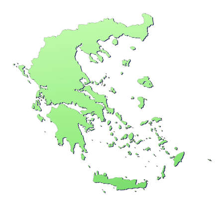 3d bitmap: Greece map filled with light green gradient. High resolution. Mercator projection.