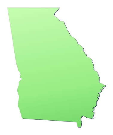 Georgia (USA) map filled with light green gradient. High resolution. Mercator projection. Stock Photo - 2590335