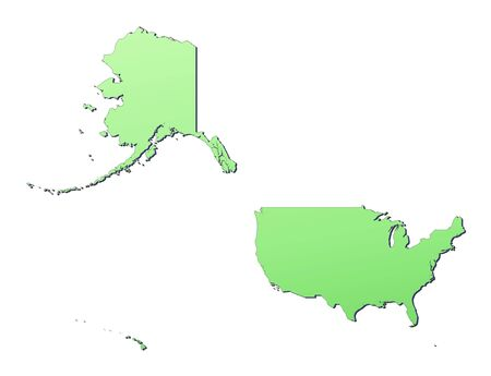 USA Map Filled With Light Green Gradient High Resolution - Us map mercator