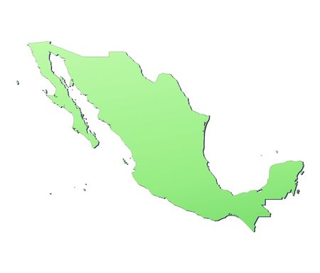emboss: Mexico map filled with light green gradient. High resolution. Mercator projection. Stock Photo