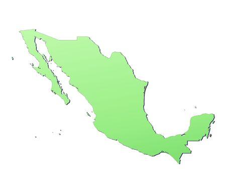 mexiko karte: Mexiko Diagramm f�llte mit hellgr�ner Steigung. Hohe Aufl�sung. Mercator Projektion.