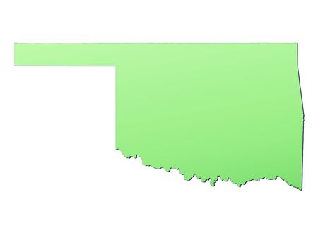 oklahoma: Oklahoma (USA) map filled with light green gradient. High resolution. Mercator projection. Stock Photo