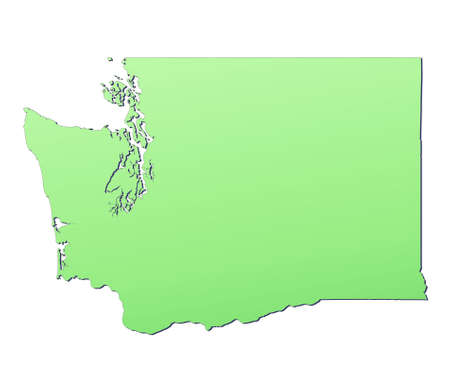 3d bitmap: Washington (USA) map filled with light green gradient. High resolution. Mercator projection.