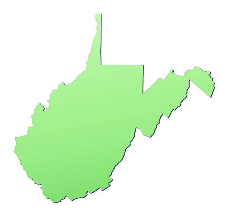 3d virginia: West Virginia (USA) map filled with light green gradient. High resolution. Mercator projection.