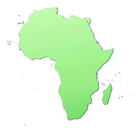 Afryka mapę wypełnione światłem zielonym gradientem. Wysoka rozdzielczość. Mercator projection. Zdjęcie Seryjne - 2624576