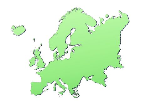 resolution: Europe map filled with light green gradient. High resolution. Mercator projection.