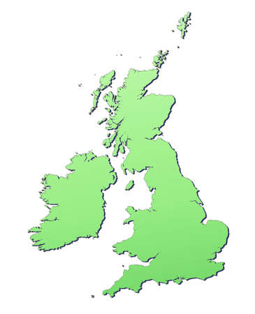 Great Britain map filled with light green gradient. High resolution. Mercator projection. Stock Photo - 2624540