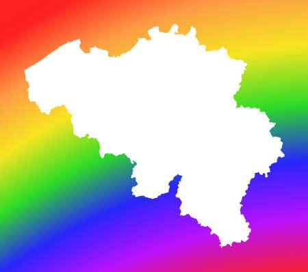 Belgium map on rainbow background. High resolution. Mercator projection. photo
