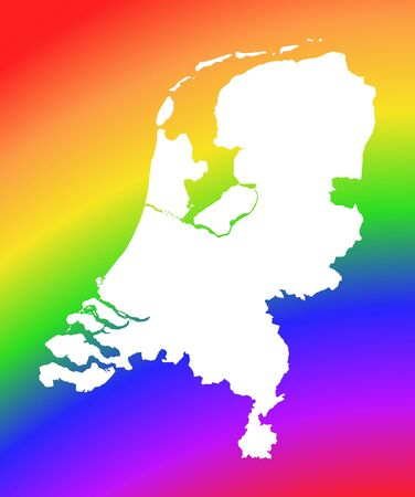 Netherlands map on rainbow background. High resolution. Mercator projection. photo