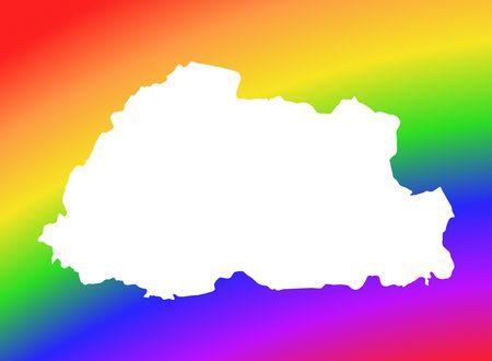bhutan: Bhutan map on rainbow background. High resolution. Mercator projection.