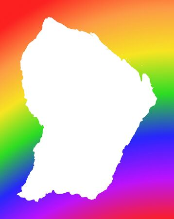 guiana: French Guiana map on rainbow background. High resolution. Mercator projection.