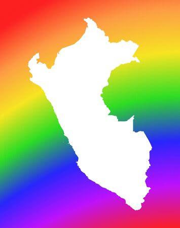 peru map: Peru map on rainbow background. High resolution. Mercator projection.