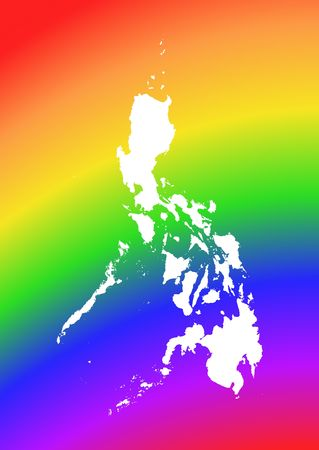 philippines  map: Philippines map on rainbow background. High resolution. Mercator projection. Stock Photo