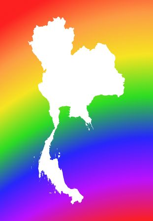 Thailand map on rainbow background. High resolution. Mercator projection. photo