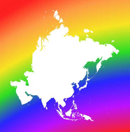Mapa de Asia sobre fondo de arco iris. De alta resoluci�n. Proyecci�n de Mercator. Foto de archivo - 2677766