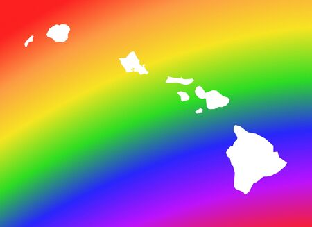 Hawai map on rainbow background. High resolution. Mercator projection. Banque d'images