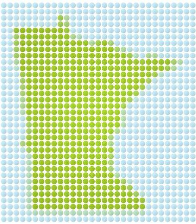 Minnesota map dotted mosaic. Green and light blue dots. photo