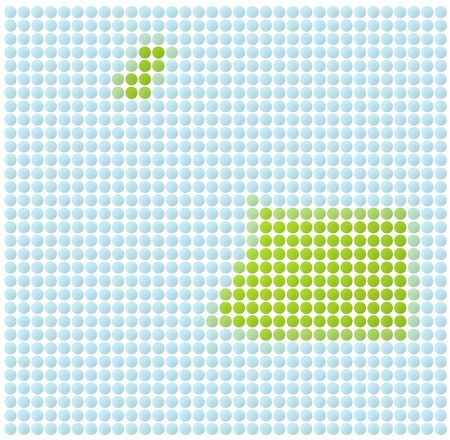 equatorial: Equatorial Guinea map dotted mosaic. Green and light blue dots. Stock Photo
