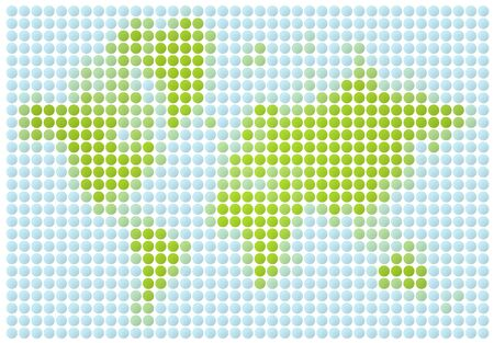 World map dotted mosaic. Green and light blue dots. Stock Photo - 2722347