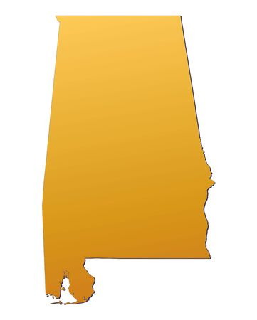 3d bitmap: Alabama (USA) map filled with orange gradient. Mercator projection.