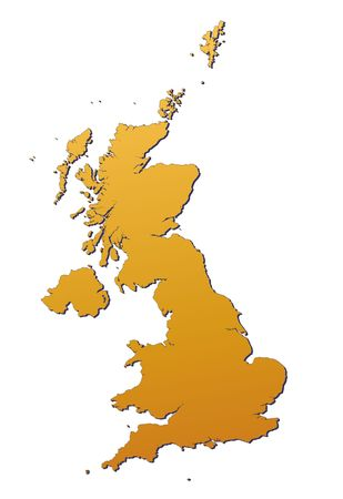 United Kingdom map filled with orange gradient. Mercator projection. photo