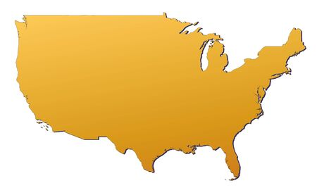 bitmap: United States map filled with orange gradient. Mercator projection. Stock Photo